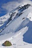 Лагерь и гора верхнее Tetnuld Стоковое Изображение