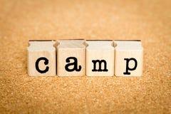 Лагерь - концепции штемпеля алфавита Стоковая Фотография RF