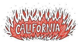 Лагерь лесного пожара Калифорния горит вне концепцию Огонь пламени с литерностью руки текста также вектор иллюстрации притяжки co иллюстрация штока