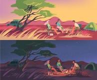 Лагерь лета или зимы в австралийце или африканской пустыне бесплатная иллюстрация