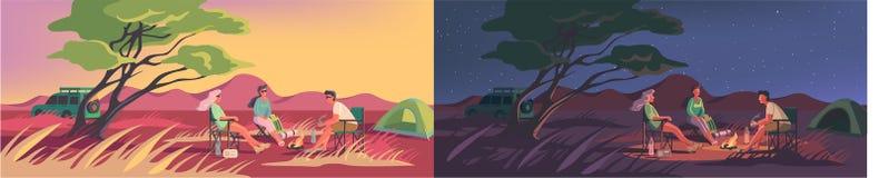 Лагерь лета или зимы в австралийце или африканской пустыне иллюстрация вектора