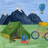 Лагерь открытки акварели туристский Handmade иллюстрация акварели иллюстрация штока