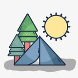 Лагерь с деревьями и солнцем бесплатная иллюстрация