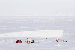 Лагерь льда приполюсной экспедиции исследования Стоковое Изображение