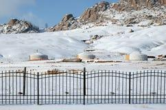 Лагерь Yourt в заповеднике Terelj, Монголии Стоковое Изображение RF