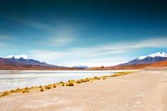 Лагуна большой возвышенности на плато Altiplano, Боливии стоковое изображение
