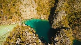 Лагуна вида с воздуха двойная, море, пляж остров тропический Busuanga, Palawan, Филиппины Стоковое Изображение