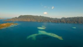 Лагуна вида с воздуха тропическая, море, пляж остров тропический Busuanga, Palawan, Филиппины Стоковые Изображения RF