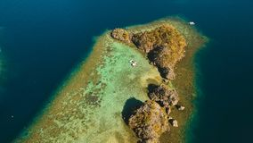 Лагуна вида с воздуха тропическая, море, пляж остров тропический Busuanga, Palawan, Филиппины Стоковое Изображение