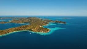 Лагуна вида с воздуха тропическая, море, пляж остров тропический Coron, Palawan, Филиппины Стоковое Изображение