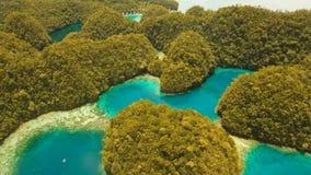 Лагуна вида с воздуха тропическая, море, пляж Остров Bucas большой, бухта Sohoton philippines сток-видео