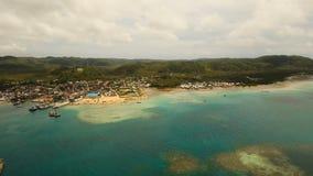 Лагуна вида с воздуха тропическая, море, пляж остров тропический Siargao, Филиппины видеоматериал
