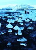 Лагуна Исландия ледника Пляж диаманта Стоковое Изображение RF