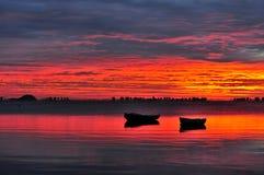 лагуна рассвета над красным цветом Стоковая Фотография RF