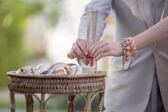 Ладаны в еде разнообразия, азиатской вере и традиции, который нужно помолить для их предшественников, стоковые изображения