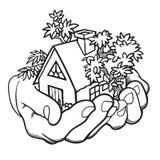 2 ладони держат малый коттедж Концепция недвижимости или страхования бесплатная иллюстрация