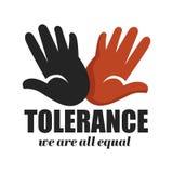Ладони цвета значка расизма допуска анти- изолированные кампанией иллюстрация штока