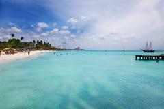 ладонь пляжа aruba Стоковые Фото