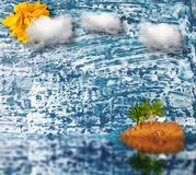 ладонь пляжа colage Деревянная предпосылка Стоковое Фото