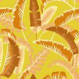 Ладонь шаржа выходит безшовной предпосылке оранжевого желтого цвета плоский стиль Стоковые Фотографии RF