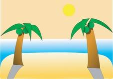 ладонь 2 пляжа иллюстрация вектора