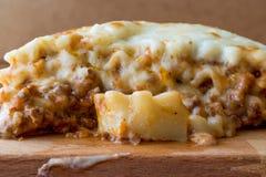 Лазанья с семенить мясом, Bolognese соусом и расплавленным сыром стоковое изображение rf