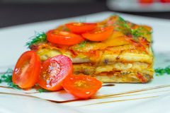 Лазанья с томатами на белой плите стоковые фото
