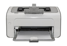 Лазерный принтер офиса изолированный на белой предпосылке с белой бумагой Стоковое фото RF