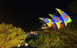 Лазерный луч здания оперы Сиднея Стоковая Фотография