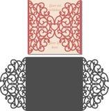 Лазер отрезал шаблон конверта для карточки свадьбы приглашения Стоковое Фото