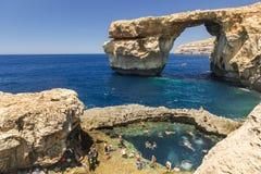 Лазурное окно - остров Gozo, Мальты Стоковое Изображение