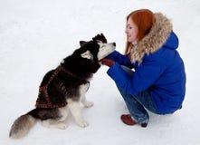 Лайка молодой женщины и собаки сибирская в зиме Стоковые Изображения