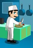 лакомка chop шеф-повара любит овощи иллюстрация вектора