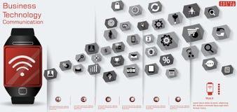 Лампа дела для идеи дизайна современной и концепция Vector шаблон Infographic иллюстрации с значком стоковое изображение rf