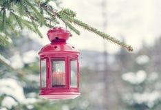 Лампа и снег в зимнем времени Стоковое фото RF