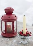 Лампа и снег в зимнем времени Стоковые Фотографии RF