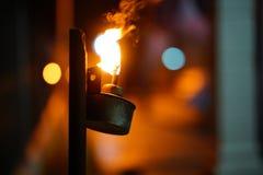 Лампа керосина освещенная вверх стоковые изображения