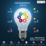 Лампа шаблона Infographic иллюстрации вектора идеи и концепции современного дизайна успеха в бизнесе с значком стоковые изображения