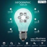 Лампа шаблона Infographic иллюстрации вектора идеи и концепции современного дизайна успеха в бизнесе с значком стоковое фото rf