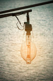 Лампа для рыбацкой лодки на заходе солнца Стоковая Фотография