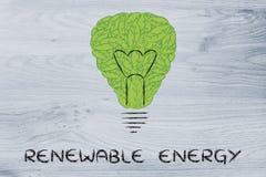 Лампочка сделанная из листьев, концепция зеленой экономики Стоковые Изображения RF