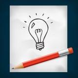 Лампочка doodles значок и красный карандаш Стоковое фото RF
