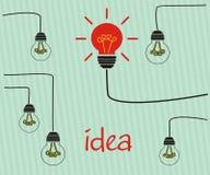 Лампочки накаливания на проводах изображение идеи принципиальной схемы 3d представило Стоковое Изображение RF