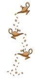 Лампы и монетки джинов Стоковые Фото
