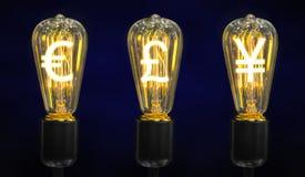 Лампы которые накаляют символы валют мира Стоковые Изображения