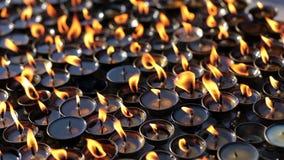 Лампы масла на буддийском виске сток-видео