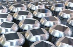 Лампы с панелями солнечных батарей для освещения сада стоковое фото rf