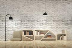 Лампы с bookcase на деревянных поле и стене кирпичей Стоковые Изображения