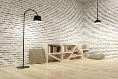 Лампы с bookcase на деревянных поле и стене кирпичей Стоковое фото RF