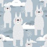 Ламы, облака, декоративная милая предпосылка Красочная безшовная картина со счастливыми животными иллюстрация штока